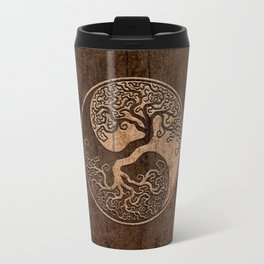 Rough Wood Grain Effect Tree of Life Yin Yang Travel Mug