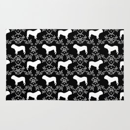 English Bulldog silhouette florals black and white minimal dog breed pattern print gifts bulldogs Rug