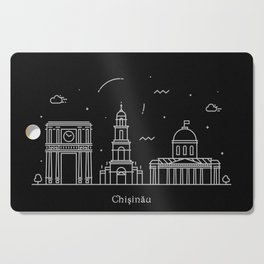 Chişinău Minimal Nightscape / Skyline Drawing Cutting Board