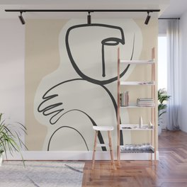 Lady Portrait Abstract Minimal  Line Art 3 Wall Mural