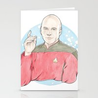 picard Stationery Cards featuring Captain Jean-Luc Picard of the Starship Enterprise by A Rose Cast