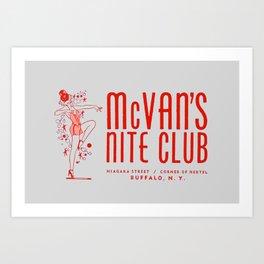 McVan's Nite Club in Red Art Print