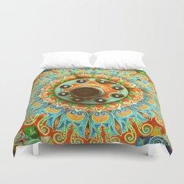 Rainbow Painted Cart Wheel Mandala Duvet Cover