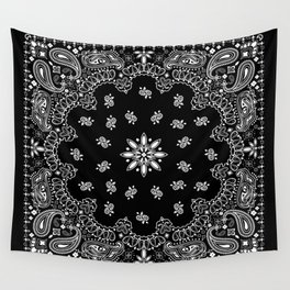 black and white bandana pattern Wall Tapestry