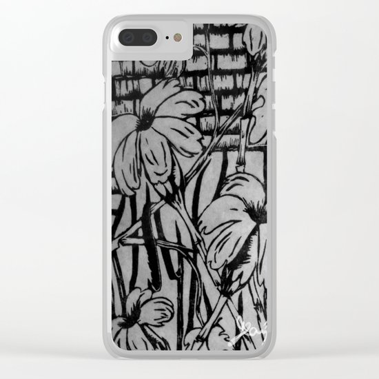 Black and White Palm Flowers by my Mom Clear iPhone Case