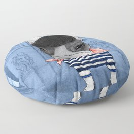 Frenchie with Arc de Triomphe Floor Pillow