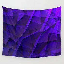 Abstract strict pattern of violet and overlapping fragments and irregularly shaped glass lines. Wall Tapestry