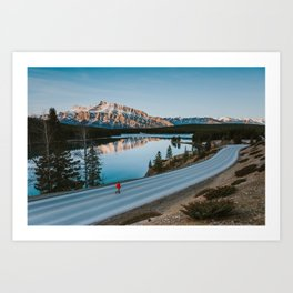 Two Jack Lake during sunrise Art Print