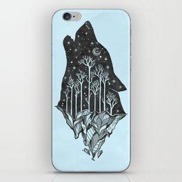 Adventure Wolf - Nature Mountains Wolves Howling Design Black on Turquoise Blue iPhone Skin