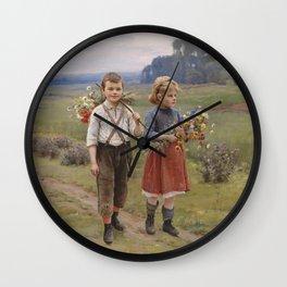 Kinder am Heimweg Artwork Wall Clock