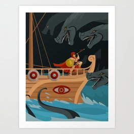 odysseus fighting Scylla and Charybdis Greek mythology monsters Art Print