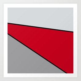 Diagonal Color Blocks in Red and Grays Art Print