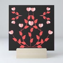 Pink floral fantasy dark Mini Art Print
