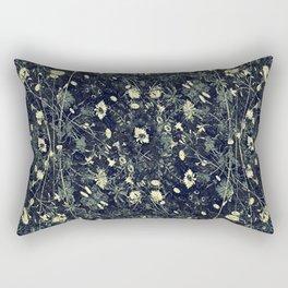 Dark Floral Collage Pattern Rectangular Pillow
