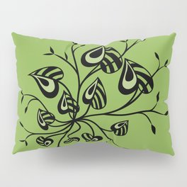 Abstract Floral With Pointy Leaves In Black And Greenery Pillow Sham