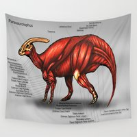 muscle Wall Tapestries featuring Parasaurolophus Muscle Study by Rushelle Kucala Art