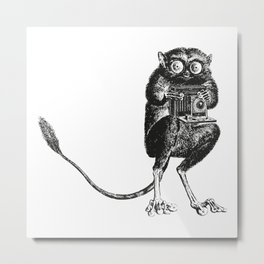Say Cheese! | Tarsier with Vintage Camera | Black and White Metal Print