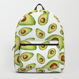 Green Avocados with Pits Pattern Digital Graphic Design Watercolor Painting Backpack