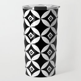 Linocut minimal scandinavian stars circles geometric black and white pattern Travel Mug