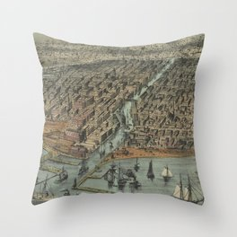 Vintage Pictorial Map of Chicago IL (1907) Throw Pillow