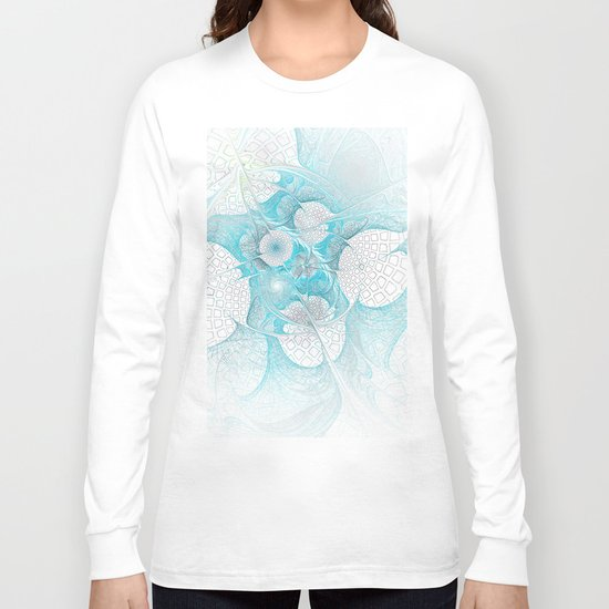 Turquoise Fractal Long Sleeve T-shirt