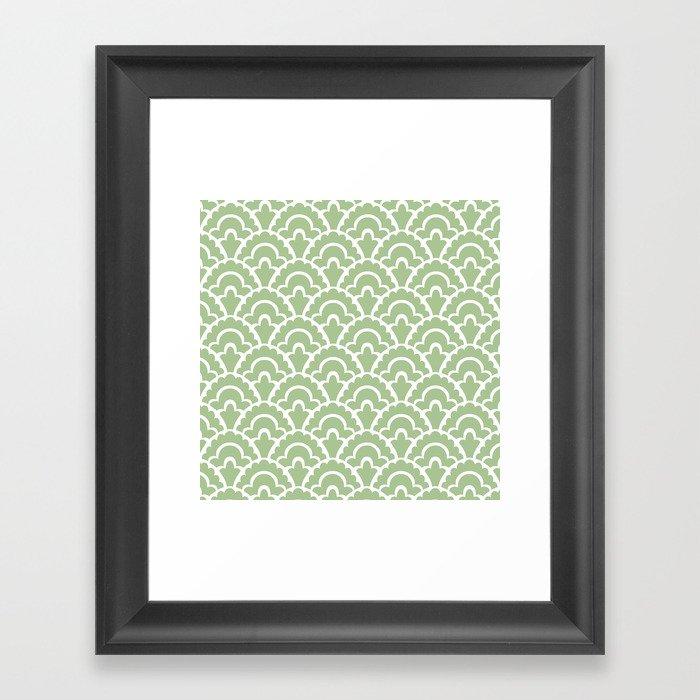 Fan Pattern Nile Green 113 Gerahmter Kunstdruck