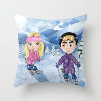 skiing Throw Pillows featuring Couple skiing  by Danna Victoria