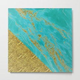 Luxury and glamorous gold glitter effect on aqua Sea marble 1 on #Society6 Metal Print