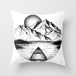 Canoe in the morning Throw Pillow