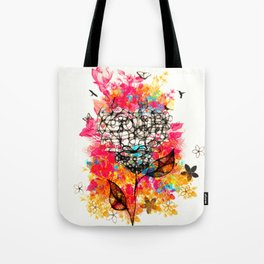 Abstract flower's face, colors Tote Bag
