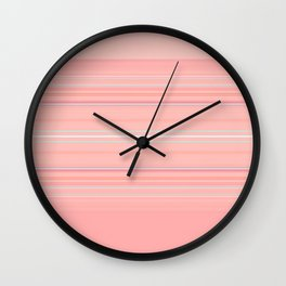 Coral Stripe with Slight Teal Accent Wall Clock