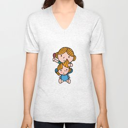 mom & daughter Unisex V-Neck