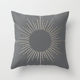 Simply Sunburst in White Gold Sands on Storm Gray Throw Pillow