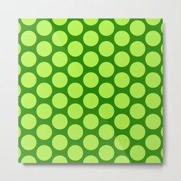Dots Pattern 6 - Emerald, Lime, Green Metal Print