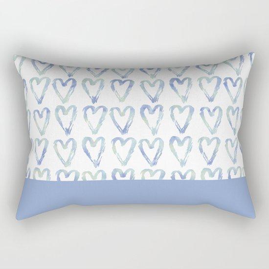 Heart Pattern Blue Rectangular Pillow