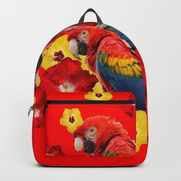 TROPICAL BLUE MACAWS & RED YELLOW HIBISCUS RED ART Backpack