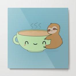 Kawaii Cute Sloth Coffee Metal Print