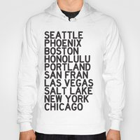 cities Hoodies featuring USA CITIES by Party in the Mountains