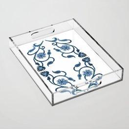 Blue Paisley Double Heart 1 Acrylic Tray