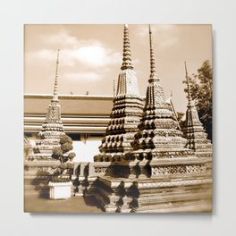 Wat Po temple in Thailand (Bangkok & Travel) - Thai Massage School (square) Metal Print