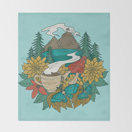 Pacific Northwest Coffee and Nature Throw Blanket