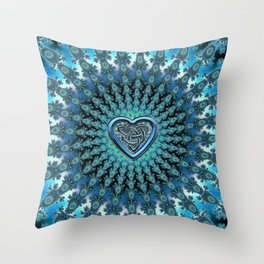 Celtic Heart Knot Fractal Mandala Throw Pillow