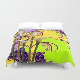 Fantasy Calla Lily Garden Gold-Lilac-Lime Color Designs Duvet Cover