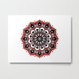 Black Red Crown Mandala Metal Print