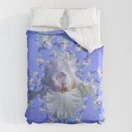 BLUE-WHITE IRIS ABSTRACT PATTERN Duvet Cover