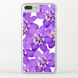 Purple wildflowers on a white background - spring atmosphere Clear iPhone Case