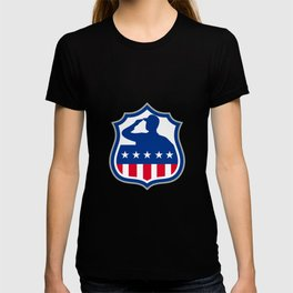 American Soldier Saluting USA Flag Crest Icon T-shirt