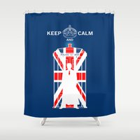 dr who Shower Curtains featuring Dr Who - Union Jack by Chimaera Designs