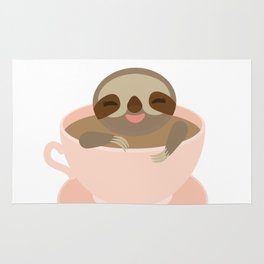 Sloth in a Pink cup coffee, tea, Three-toed sloth Rug