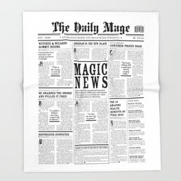 The Daily Mage Fantasy Newspaper Throw Blanket